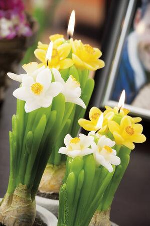 haus beleuchtung: Stilleben von zu Hause Beleuchtung Kerzen wie Blumen