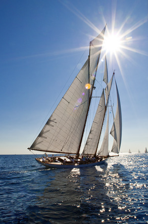 IMPERIA, ITALY - SEPT 10-14:Ancient sailing boat during a regatta at the Panerai Classic Yachts Challenge on Sept 10-14 2014 Imperia, Italy.