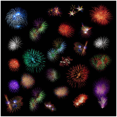 a texture of exploding fireworks on black photo