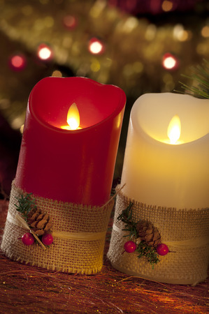 electric christmas candles in atmospheric light stock photo 33784290