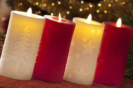 electric christmas candles in atmospheric light stock photo 33784294 - Electric Christmas Candles