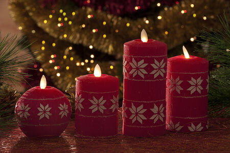 electric christmas candles in atmospheric light stock photo 33784297 - Electric Christmas Candles