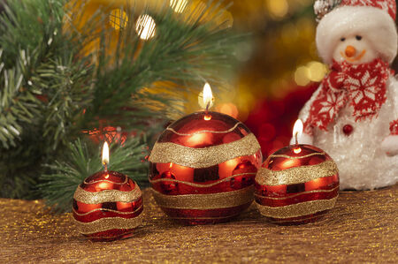 atmospheric: christmas candles in atmospheric light Stock Photo