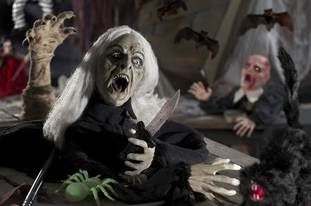 drakula: the  Halloween dark night with skeleton and monster Stock Photo
