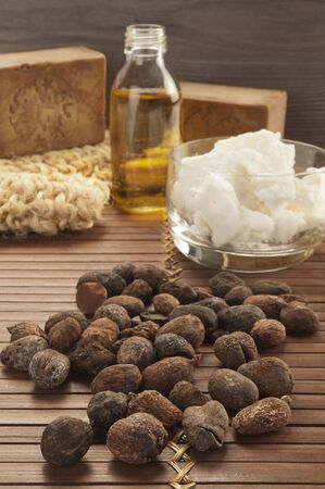 shea nuts on a natural and ethnic background Standard-Bild