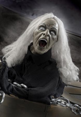 hallowmas: the  Halloween dark night with skeleton and monster Stock Photo
