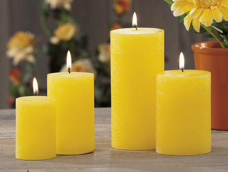 still life at home of yellow lighting candles Stock Photo
