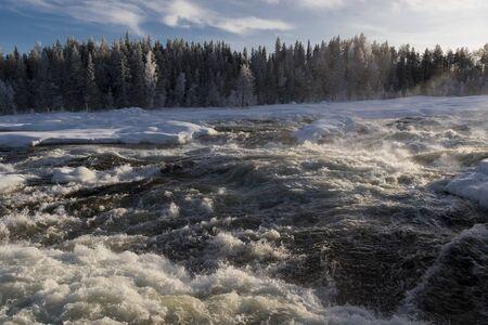 Storforsens Naturreservat,very important river rapids, Norrbotten, Sweden, during winther