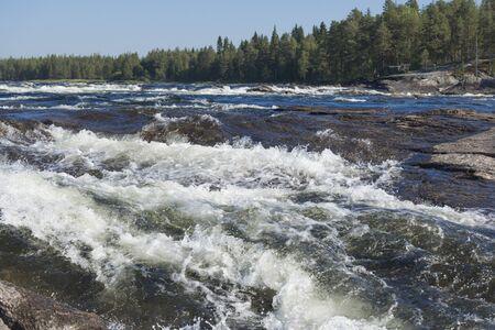 VINDELALVEN, wild river and rapids, north of Sweden, during summer
