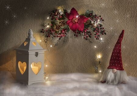a background for Christmas texts with lights and gnomes Standard-Bild