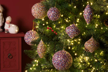 decorations with lights for the Christmas period, with balls and gnomes