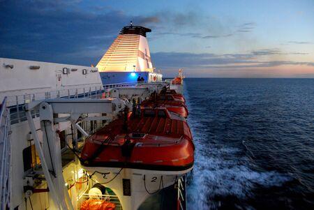 return trip: ferry and sunrise