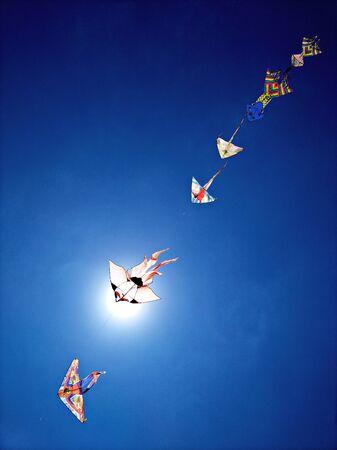 kites in the blue sky Banco de Imagens