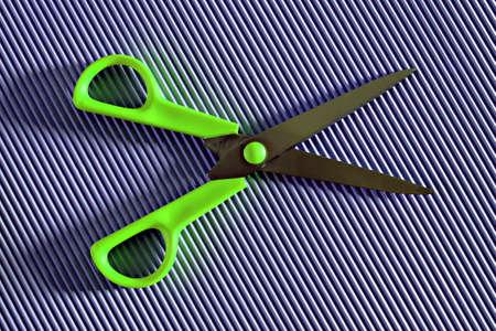 green open scissors on violet background Banco de Imagens