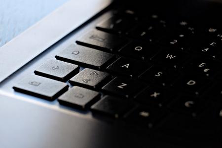 close up on laptop keyboard