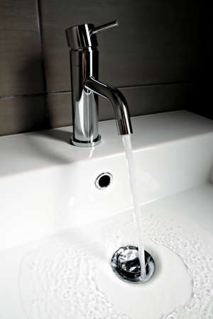 sink with open faucet