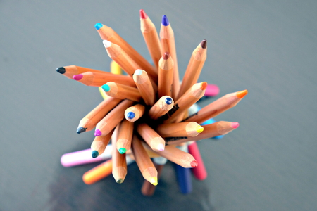 top view of bunch of colored pencils Banco de Imagens