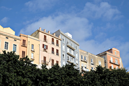 view of colored buildings in the old town of Cagliari Banco de Imagens