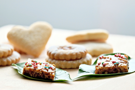composition with sardinian sweets, high key Banco de Imagens