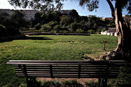 vegetable garden Orto dei Cappuccini in Cagliari, view from a bench Editorial