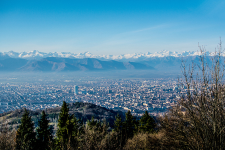mole: view turin with clear skies and with Mole Antonelliana