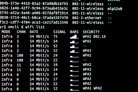 Scanning networks available with security level and signal strength. Analysis of networks from terminal connected by ssh protocol Imagens