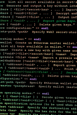 Source code of Ethereum, cryptocurrency and decentralized system of contracts for the management of smart contracts. innovative programmable blockchain developed in C ++ and Go. Open source code 免版税图像
