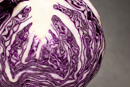 red cabbage ball cut in half with all the leaves on a black granite table. Red cabbage cut in half ready to be cooked in a winter recipe 免版税图像