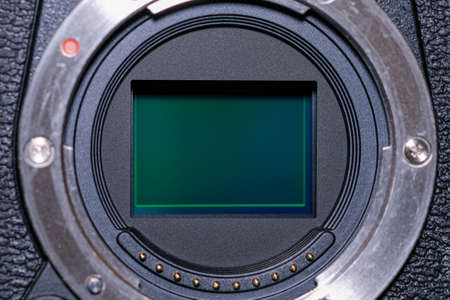 Mirror less camera sensor close up view,hi tech photography device components Stok Fotoğraf