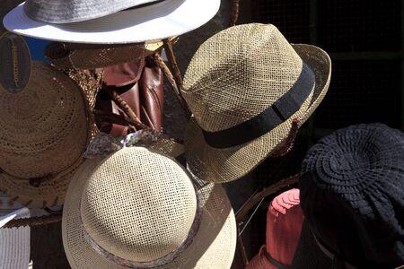 Hats souvenir, Riomaggiore, gulf of Poets, Cinque Terre, La Spezia, Liguria, Italy Editorial