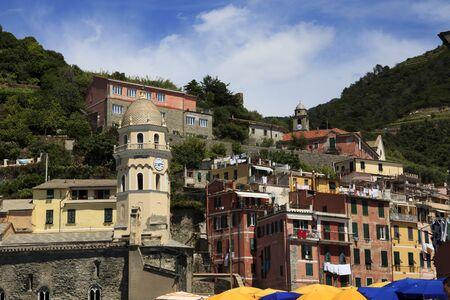 Vernazza village and church, gulf of Poets, Cinque Terre, La Spezia, Liguria, Italy