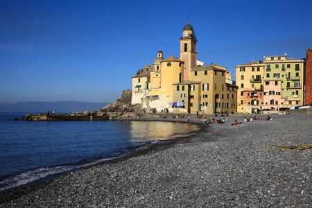 Camogli (GE), Italy - June 01, 2017: The fishing village of Camogli, Gulf of Paradise, Portofino National Park, Genova, Liguria, Italy Editorial