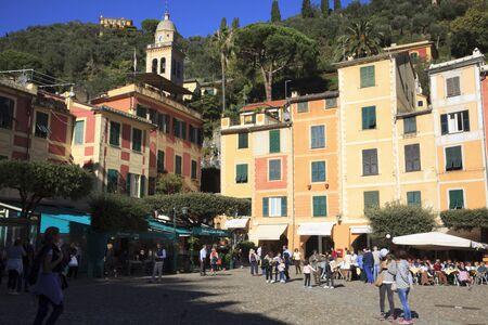Portofino (GE), Italy - June 01, 2017: The little square in Portofino, Genova, Liguria, Italy