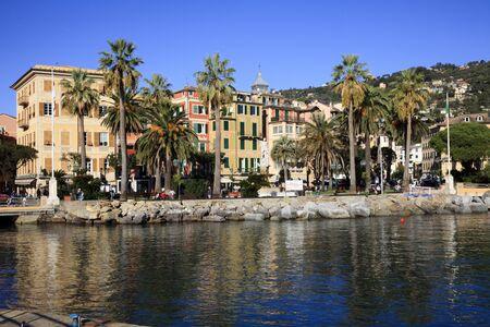 Santa Margherita Ligure (GE), Italy - June 01, 2017: Santa margherita Ligure village view from the harbour, Genova, Liguria, Italy