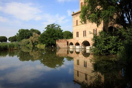 Mesola (FE), Italy - April 30, 2017: Abato tower near Po river, Delta Regional Park, Emilia Romagna, Italy