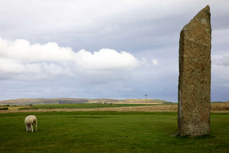 Stennessl - Orkney (Scotland), UK - August 06, 2018: Standing Stones of Stenness, Neolithic megaliths in the island of Mainland, Orkney, Scotland, Highlands, United Kingdom