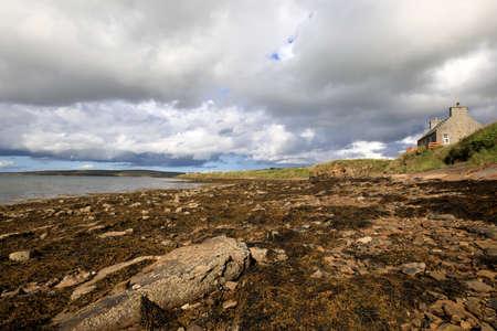 Margaret's Hope - Orkney (Scotland), UK - August 10, 2018: The landscape near St Margaret's Hope village in the Orkney islands, Orkney, Scotland, Highlands, United Kingdom 報道画像