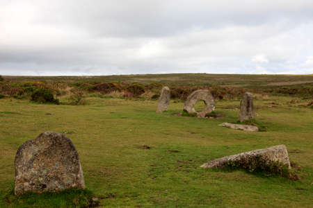 Madron (England), UK - August 16, 2015: The famous Mên-an-Tol a Megalithic stone and Tomb near Madron, West Penwith, Cornwall, England, United Kingdom.