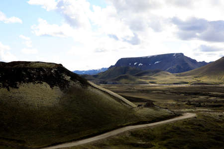 Landmannalaugar / Iceland - August 15, 2017: The road to Landmannalaugar park, Iceland, Europe Editorial