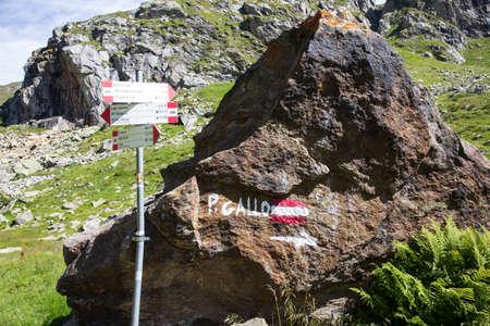 Formazza (VCO), Italy - June 25, 2020: Excursion sign near Lake Vannino, Formazza Valley, Ossola, VCO, Piedmont, Italy
