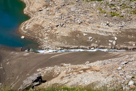 Formazza (VCO), Italy - June 25, 2020: Fisherman at Lake Vannino, Formazza Valley, Ossola, VCO, Piedmont, Italy Editoriali