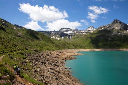 Formazza (VCO), Italy - June 25, 2020: Lake Vannino, Formazza Valley, Ossola, VCO, Piedmont, Italy