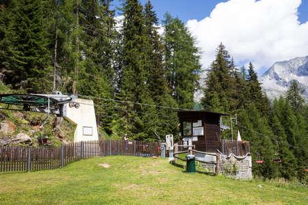 Formazza (VCO), Italy - June 25, 2020: chairlift station at Lake Vannino, Formazza Valley, Ossola, VCO, Piedmont, Italy