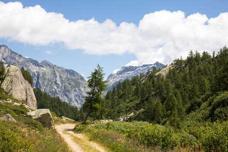 Formazza (VCO), Italy - June 25, 2020: The pathway to Lake Vannino, Formazza Valley, Ossola, VCO, Piedmont, Italy Editoriali