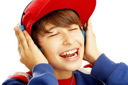 beautiful boys: Portrait of young boy with headphones