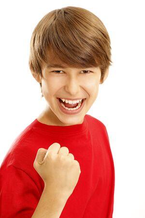 exult: boy exult on white background