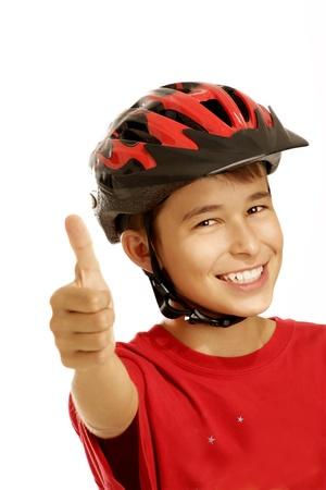 jongen fietshelm op wit Stockfoto
