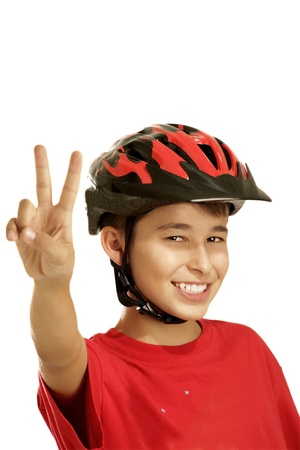 boy bike helmet on white Archivio Fotografico