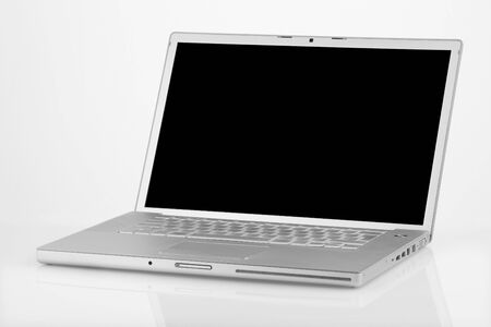 laptop frontal on white background Archivio Fotografico