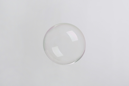 steam bath: soap bubble on neutral background